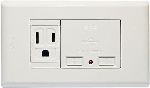 雙USB充電器 接地單插座